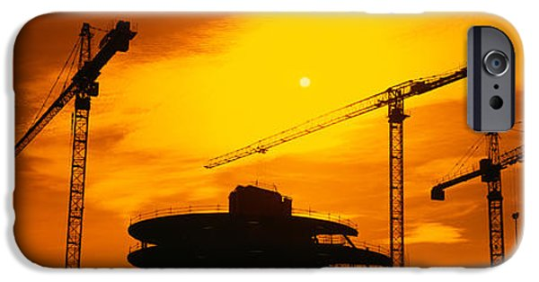 Construction Site iPhone Cases - Silhouette Of Cranes At A Construction iPhone Case by Panoramic Images