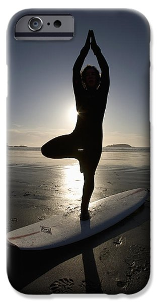 35-39 Years iPhone Cases - Silhouette Of Female Surfer Doing Yoga iPhone Case by Deddeda
