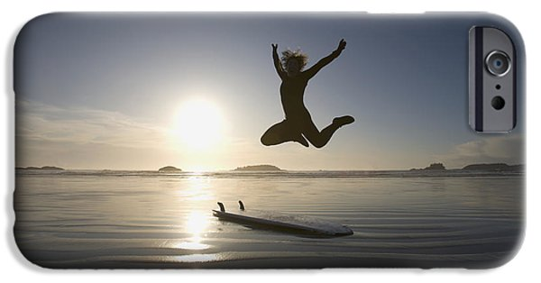 35-39 Years iPhone Cases - Silhouette Of Female Surfer Jumping For iPhone Case by Deddeda