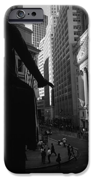Finance iPhone Cases - Silhouette Of George Washington Statue iPhone Case by Panoramic Images