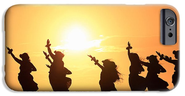 Raised Image iPhone Cases - Silhouette Of Hula Dancers At Sunrise iPhone Case by Panoramic Images