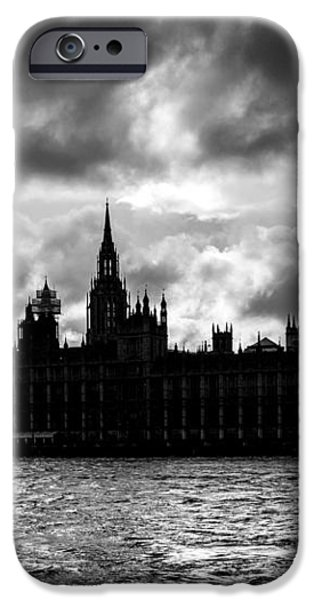Silhouette of  Palace of Westminster and the Big Ben iPhone Case by Semmick Photo