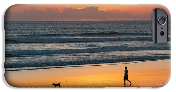 Dog Photography iPhone Cases - Silhouette Of People And Dog Walking iPhone Case by Panoramic Images