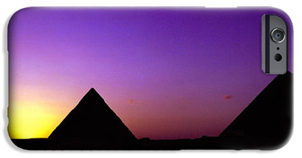 Civilization iPhone Cases - Silhouette Of Pyramids At Dusk, Giza iPhone Case by Panoramic Images