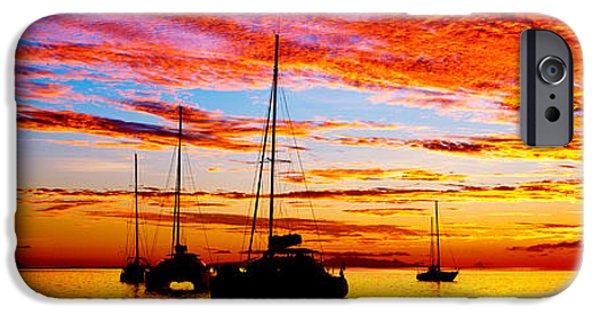 Sailboat Ocean iPhone Cases - Silhouette Of Sailboats In The Ocean iPhone Case by Panoramic Images