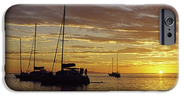 Sailboats In Water iPhone Cases - Silhouette Of Sailboats In The Sea iPhone Case by Panoramic Images