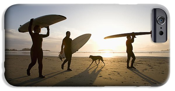Mature Adult iPhone Cases - Silhouette Of Three Surfers And A Dog iPhone Case by Deddeda