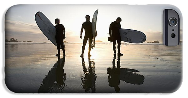 35-39 Years iPhone Cases - Silhouette Of Three Surfers Carrying iPhone Case by Deddeda