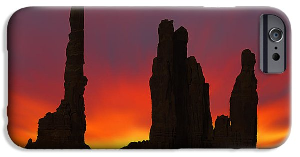 Totem iPhone Cases - Silhouette of Totem Pole After Sunset - Monument Valley iPhone Case by Mike McGlothlen