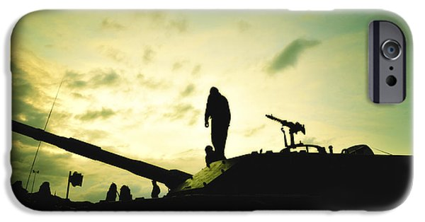 Sound Mixed Media iPhone Cases - Silhouette of War  iPhone Case by Stefano Senise