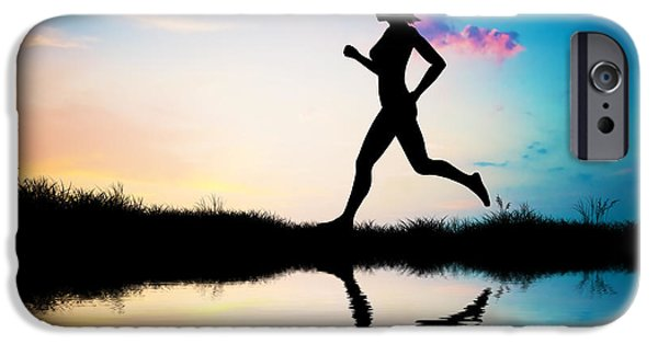 Jogging iPhone Cases - Silhouette of woman running at sunset iPhone Case by Michal Bednarek