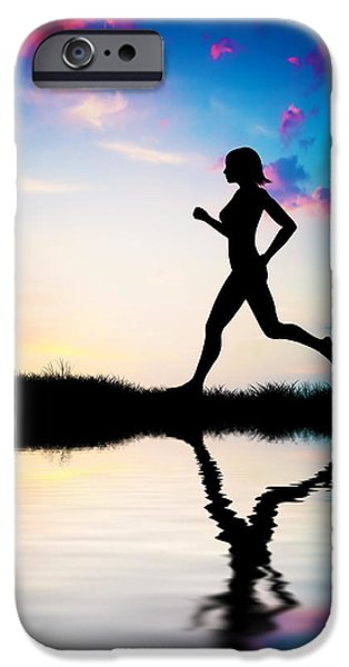 Silhouette of woman running at sunset iPhone Case by Michal Bednarek