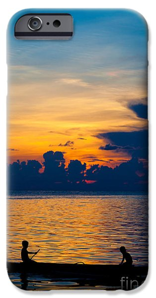 Exoticism iPhone Cases - Silhouette on peaceful sunset Borneo Malaysia iPhone Case by Fototrav Print