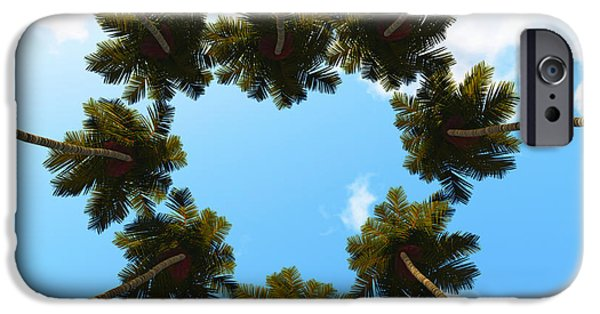Exoticism iPhone Cases - Silhouette Palms View Up iPhone Case by Aleksey Tugolukov