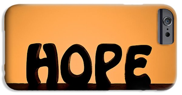 Positive Attitude iPhone Cases - Silhouette Single Word HOPE iPhone Case by Donald  Erickson