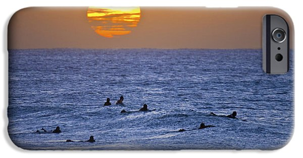 Surf Silhouette iPhone Cases - Silhouettes and gold iPhone Case by Sean Davey