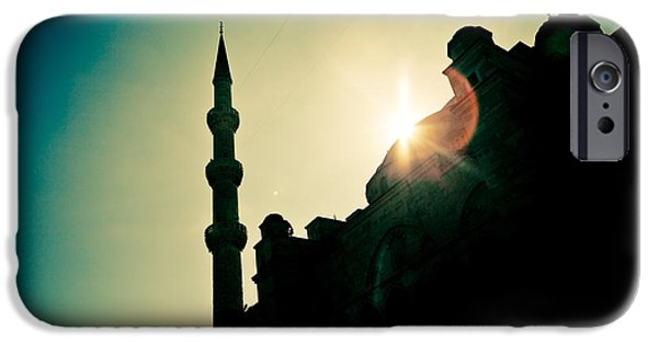 Culture Pyrography iPhone Cases - Silhouettes of Blue Mosque Istambul Turkey iPhone Case by Raimond Klavins