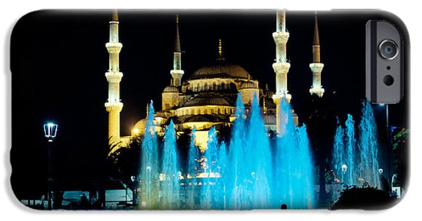 Church Pyrography iPhone Cases - Silhouettes of Blue Mosque night view iPhone Case by Raimond Klavins