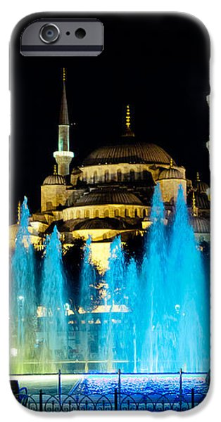 Silhouettes of Blue Mosque night view iPhone Case by Raimond Klavins