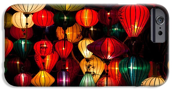 Night Lamp iPhone Cases - Silk Lanterns In Vietnam iPhone Case by Fototrav Print