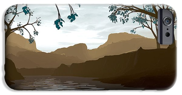 Stream Digital Art iPhone Cases - Silkscreen iPhone Case by Cynthia Decker
