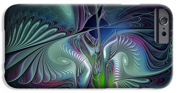 Poetic iPhone Cases - Silky Nights-Fractal Design iPhone Case by Karin Kuhlmann
