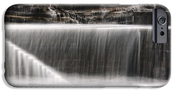 Silk Water iPhone Cases - Silky Water On Pier Stairs iPhone Case by Mikel Martinez de Osaba