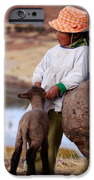 Little iPhone Cases - Sillustani Girl with hat and lamb iPhone Case by RicardMN Photography