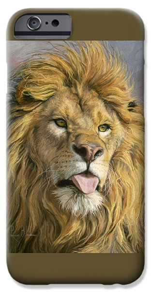 Lion iPhone Cases - Silly Face iPhone Case by Lucie Bilodeau