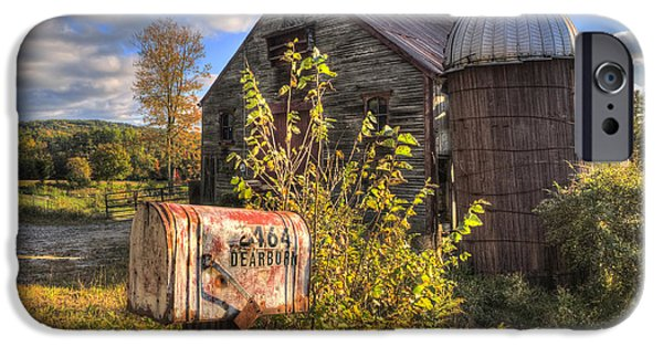 Autumn Scenes iPhone Cases - Silo and Barn in Autumn iPhone Case by Joann Vitali