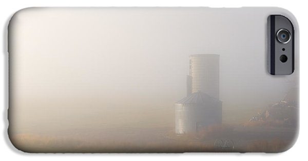 Silos iPhone Cases - Silo in the Fog iPhone Case by Mike  Dawson