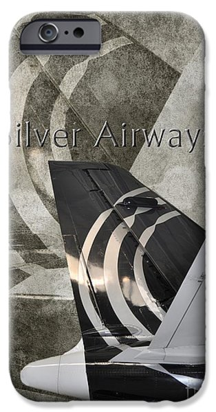 Airways Photographs iPhone Cases - Silver Airways Tail Logo iPhone Case by Diane E Berry