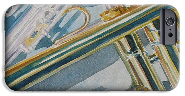 Trumpet iPhone Cases - Silver and Brass Keys iPhone Case by Jenny Armitage