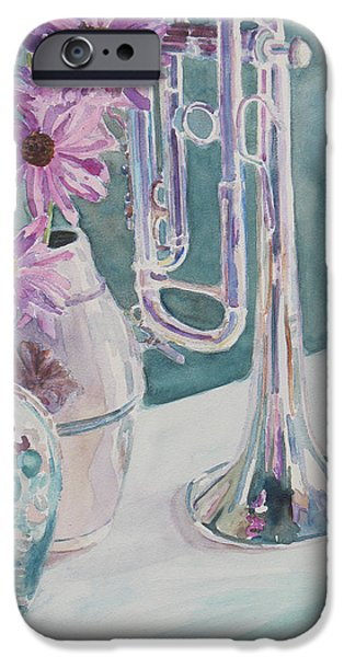 Cone Flower iPhone Cases - Silver and Glass Music iPhone Case by Jenny Armitage