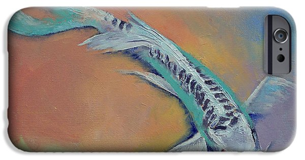 Butterfly Koi iPhone Cases - Silver and Jade iPhone Case by Michael Creese