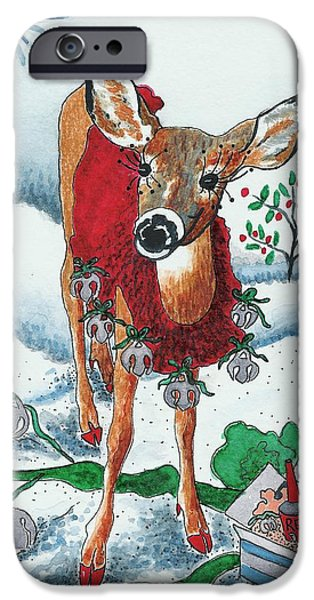 Christmas Greeting iPhone Cases - Silver Bells iPhone Case by Joy Bradley