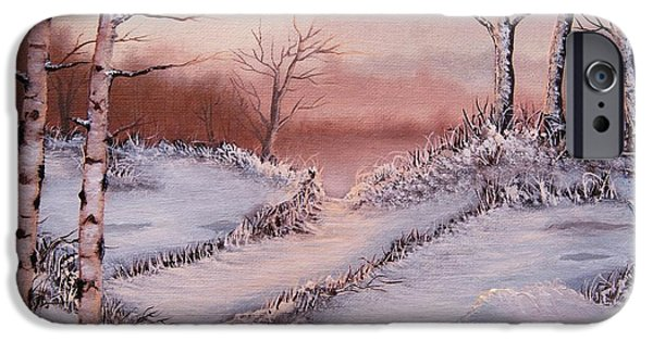 Snow Scene iPhone Cases - Silver Birch 2 iPhone Case by Misuk  Jenkins
