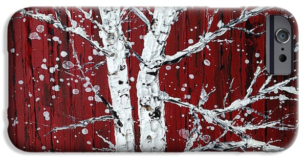 Snowy Day iPhone Cases - Silver Birches by a Red Barn on a Snowy Day iPhone Case by Lianna Klassen