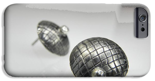 Texture Jewelry iPhone Cases - Silver Earrings iPhone Case by Vesna Kolobaric