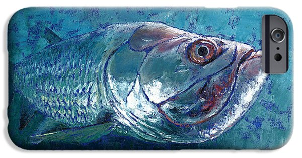Net Paintings iPhone Cases - Silver King Tarpon iPhone Case by Pam Talley