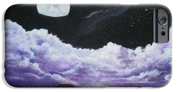 Moonscape Drawings iPhone Cases - Silver Lake iPhone Case by David Neace