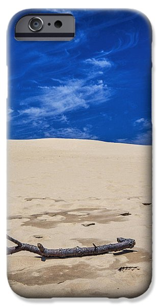 Tree Art Print iPhone Cases - Silver Lake Dune with Dead Tree branch and Cirrus Clouds iPhone Case by Randall Nyhof