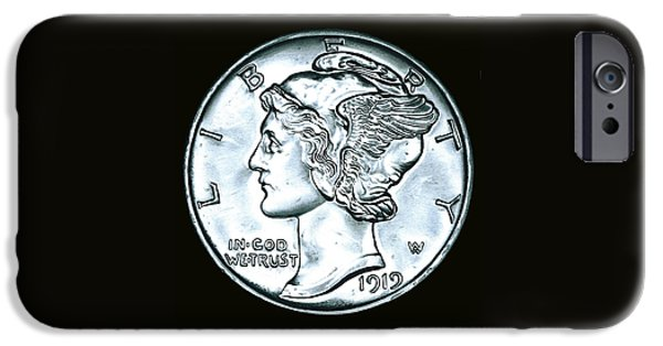 Coins Drawings iPhone Cases - Black Silver Mercury Dime iPhone Case by Fred Larucci