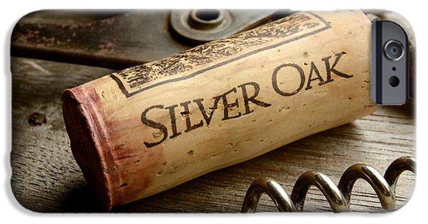 Wine Bottles iPhone Cases - Silver on Silver iPhone Case by Jon Neidert