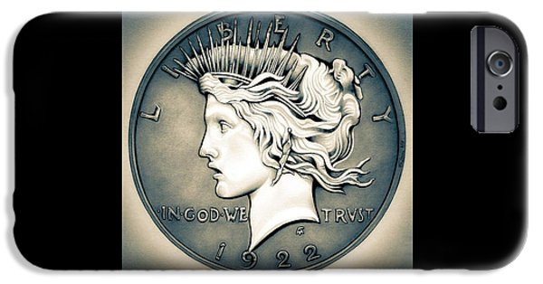 Coins Drawings iPhone Cases - 1922 Silver Proof Peace Dollar iPhone Case by Fred Larucci