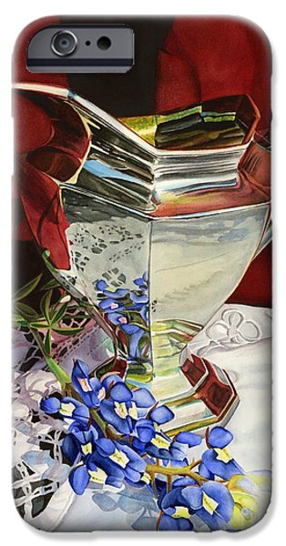 Pitcher iPhone Cases - Silver Pitcher and Bluebonnet iPhone Case by Hailey E Herrera