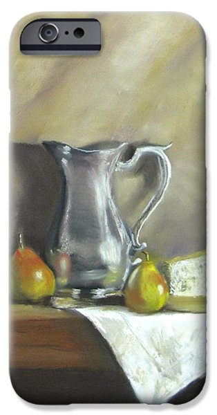 Jack Skinner Pastels iPhone Cases - Silver Pitcher With Pears iPhone Case by Jack Skinner