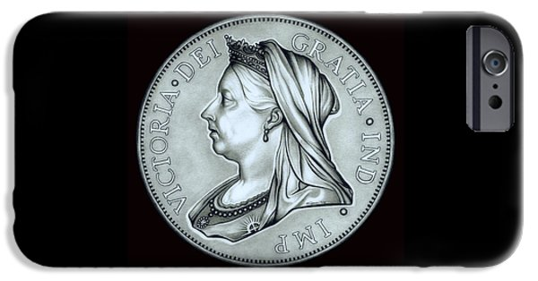 Coins Drawings iPhone Cases - Silver Royal Queen Victoria iPhone Case by Fred Larucci