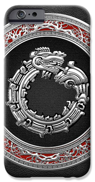 Serpent iPhone Cases - Silver Serpent God Quetzalcoatl iPhone Case by Serge Averbukh