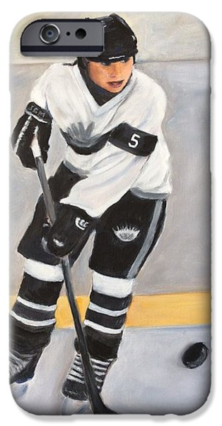 Hockey Paintings iPhone Cases - Silver Seven iPhone Case by Sharron Bonnar